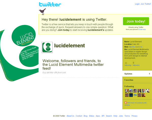 Lucid Element Multimedia – Twitter Page Design