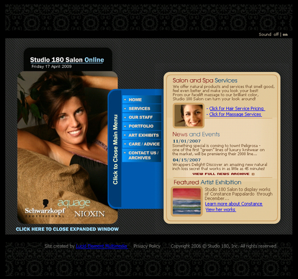 Studio 180 Salon – Flash Website v2