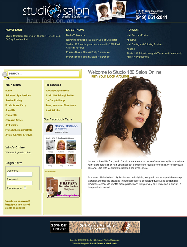 Studio 180 Salon – Joomla Design v3