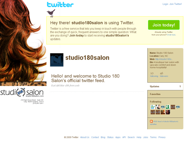 Studio 180 Salon Twitter Page