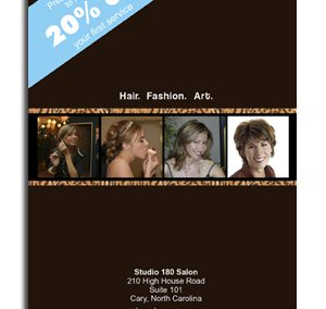 Studio 180 Salon – Postcard Layout